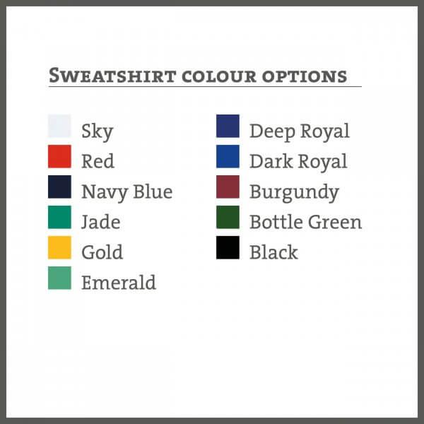 Sweatshirt colours available