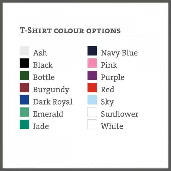 T-shirt colours available